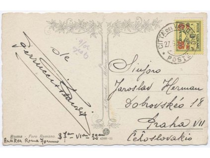 1932, DR Vaticano, pohlednice zasl. do Prahy