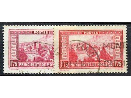 1933, 1.75Fr Palác, 2 ks - odstíny barev, razítkované