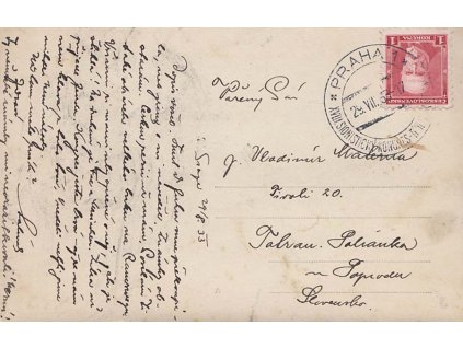 1933, Praha, Sionistický kongres, pohlednice vyfr. zn. 1KčTGM
