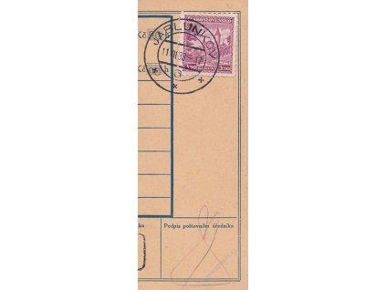 1933, DR Jablunkov, útržek průvodky vyfr. zn. 3.50Kč Křivoklát