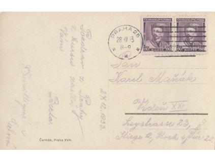 1933, DR Praha, pohlednice zaslaná do Vídně