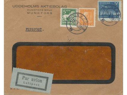 1935, DR Munkfors, let. dopis, firemní okénková obálka