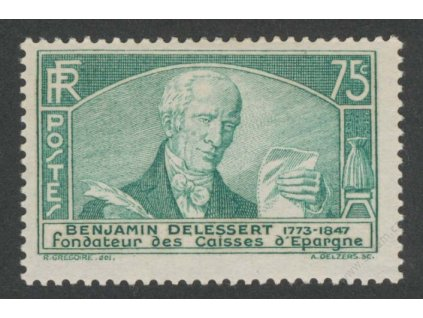 1935, 75C Delessert, MiNr.299, * po nálepce