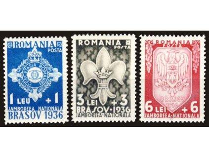 1936, 1-6L série Skaut, MiNr.516-18, * po nálepce
