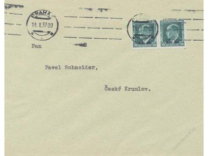 1937, DR Praha, dopis vyfr. zn. 50h B.I.T., prošlé
