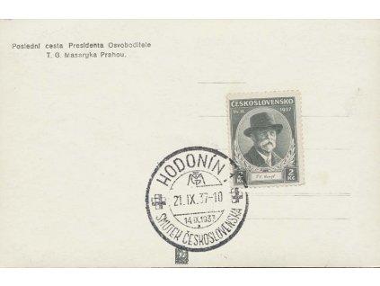1937, Hodonín, Smutek Československa, pohlednice
