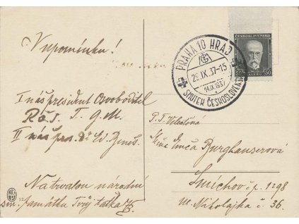1937, Praha 10 Hrad, Smutek Československa, pohlednice