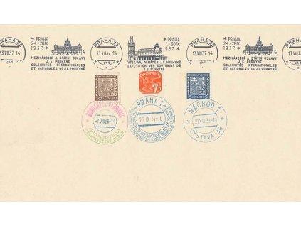 1937, pamětní list s různými razítky, větší A5, hezké