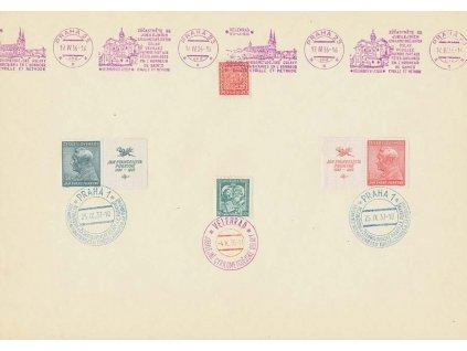 1937, pamětní list s různými razítky, A4, hezké