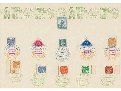 1937, pamětní list s různými razítky, A4