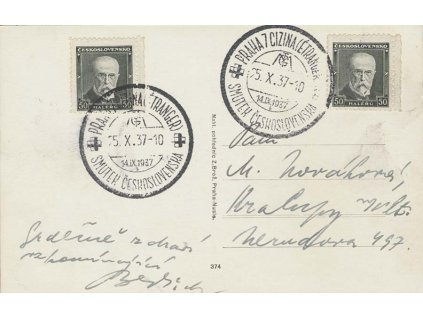 1937, Praha 7 Cizina, Smutek Českoslovenaka, pohlednice