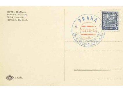 1938, Praha, IV.Středoškolské hry, pohlednice