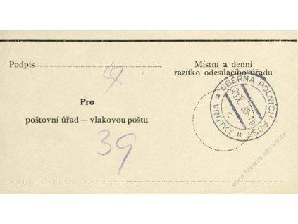 1938, DR Sběrna PP Vrůtky, formulář - vlakovka