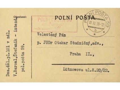 1938, DR PP No.59, lístek PP, zasl. do Prahy