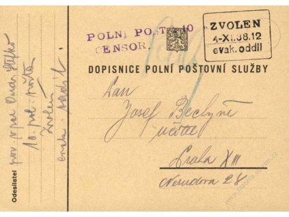 1938, lístek PP, cenzura, DR Zvolen, evak. oddíl