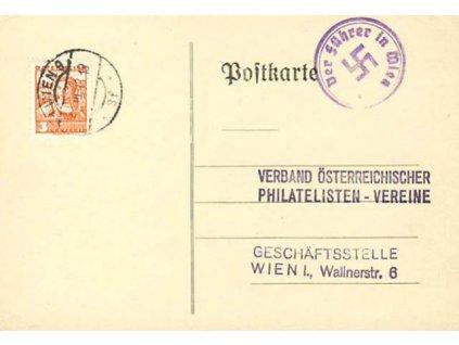 1938, DR Wien 18.3., lístek zaslaný v místě
