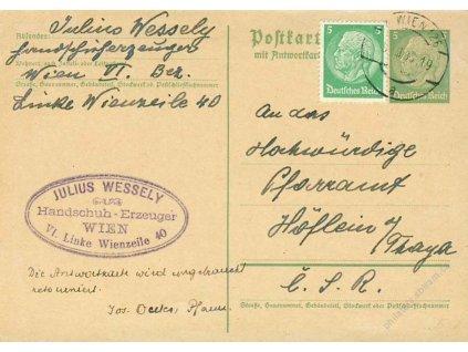1938, DR Wien, díl dopisnice 5Pf Hindenburg
