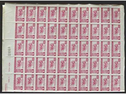 1938, 5Cts lokální vydání, ** , 100 kusový arch