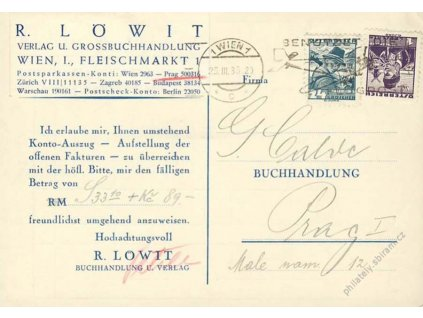 1938, DR Wien, firemní karta