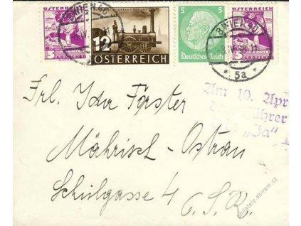 1938, DR Wien, smíšená frankatura, zasláno do ČSR