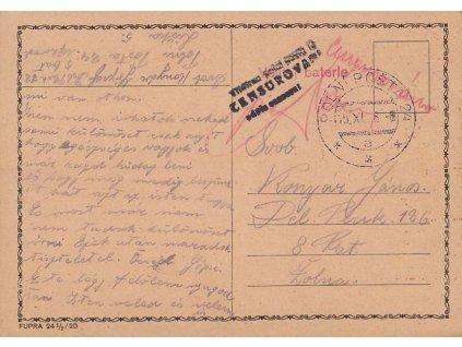1938, DR Polní pošta 24, Velitel baterie, lístek PP
