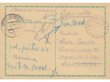 1938, DR Ústředna Polních pošt, lístek PP zaslaný mezi útvary, dosíláno