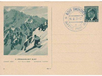 1938, Nový Smokovec, Sletové zimné hry, dopisnice, neprošlé