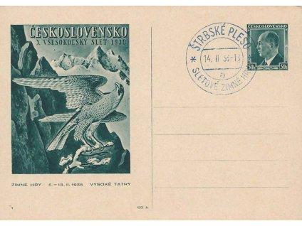 1938, Štrbské Pleso, Sletové zimné hry, dopisnice, neprošlé, dv