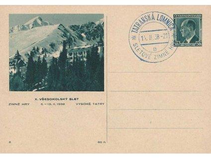 1938, Tatranská Lomnica, Sletové zimné hry, dopisnice, neprošlé