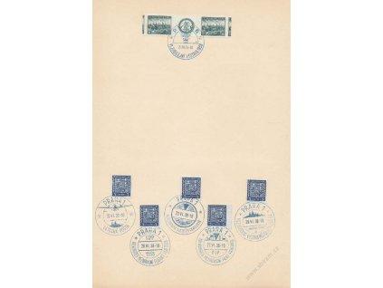 1938, Výstava známek, pamětní list se 6 razítky, A4, hledané