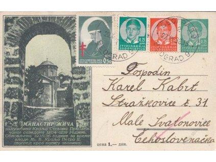 1938, DR Beograd, obrazová dopisnice zasl. do Čech