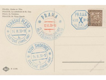 1938, Sletová razítka, pohlednice, neprošlé