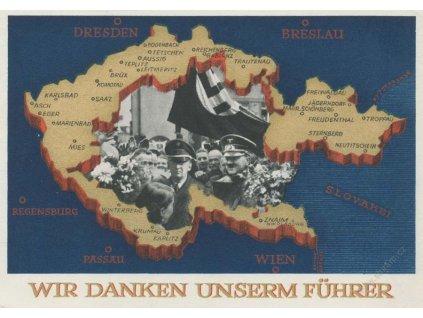 1938, Wir danken unserm führer, pohlednice, dv růžky