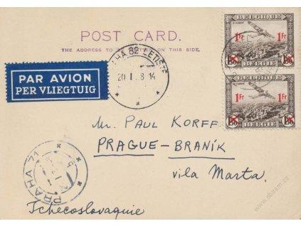 1938, DR Brusel, letecká karta zaslaná do Prahy