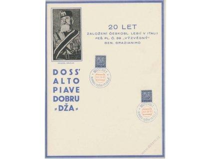 1938, Bratislava, Pěš. Pl. č. 39 Výzvědný, pamětní list, A4