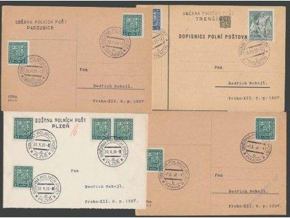 ČSPP 1938, 4 ks celistvostí PP s razítky Sběrna polních pošt