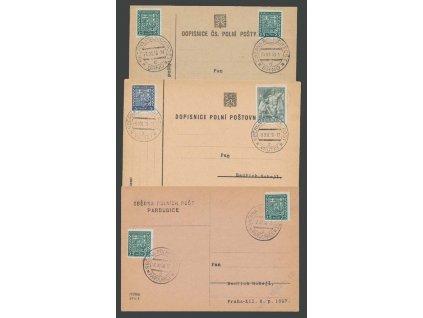 ČSPP 1938, 5 ks lístků PP s razítky Sběrna polních pošt