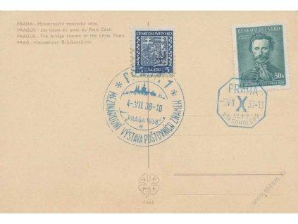 1938, Praha, Výstava známek + X. Slet všesokolský, pohled