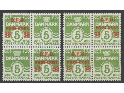 1938, 5Q zelená, 2 ks 4bloků, varianty přetisků, MiNr.243, **