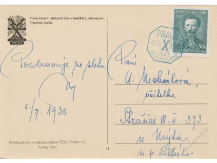 1938, Praha, X. Slet Všesokolský, propagační pohlednice