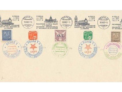 1938, pamětní list s různými razítky, větší A5, hezké