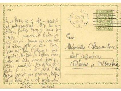 1939, DR Praha 12.4., dopisnice 50h Znak