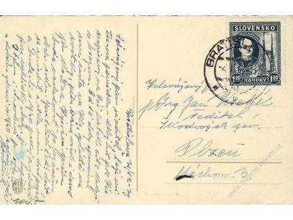 1939, DR Bratislava, pohlednice, zasl. do Čech