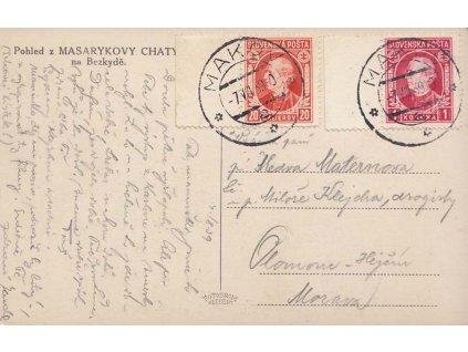 1939, DR Makov 7.8., pohlednice zaslaná do Olomouce