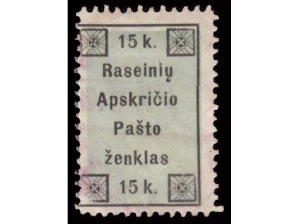 Lietuva, Raseiniai, 1919, 15K MiNr.1, slabé razítko