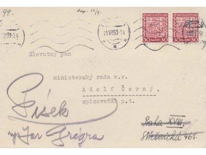 1939, DR Praha 21.8., dopis, zasl. v místě, dosláno do Písku