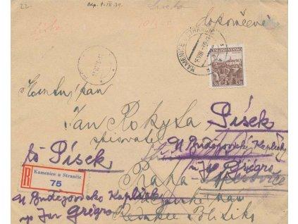 1939, DR Kamenice u Stránčic 16.8., R-dopis, zasl. do Prahy