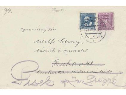1939, DR Chrudim 21.8., dopis, zasl. do Prahy, dosíláno