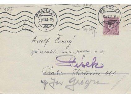 1939, DR Praha 23.8., dopis, zasl. v místě, dosíláno do Písku