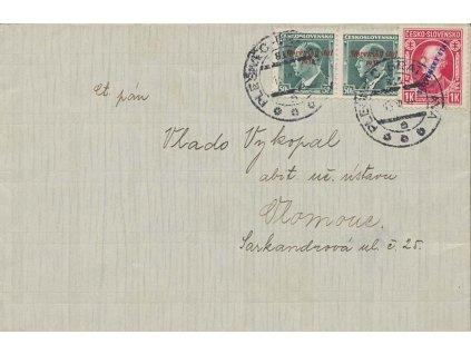 1939, vlakové DR Plešivec-Bratislava, dopis